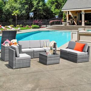 8 PCS Wicker Sofa Rattan Dinning Set Patio Furniture w/ Storage Table Outdoor