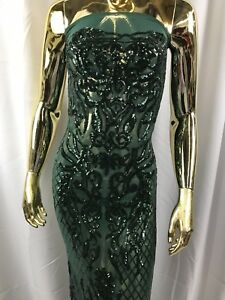 Sequins Fabric Hunter Green 4 Way Stretch Embroidered Mesh Squin Fashion By Yard