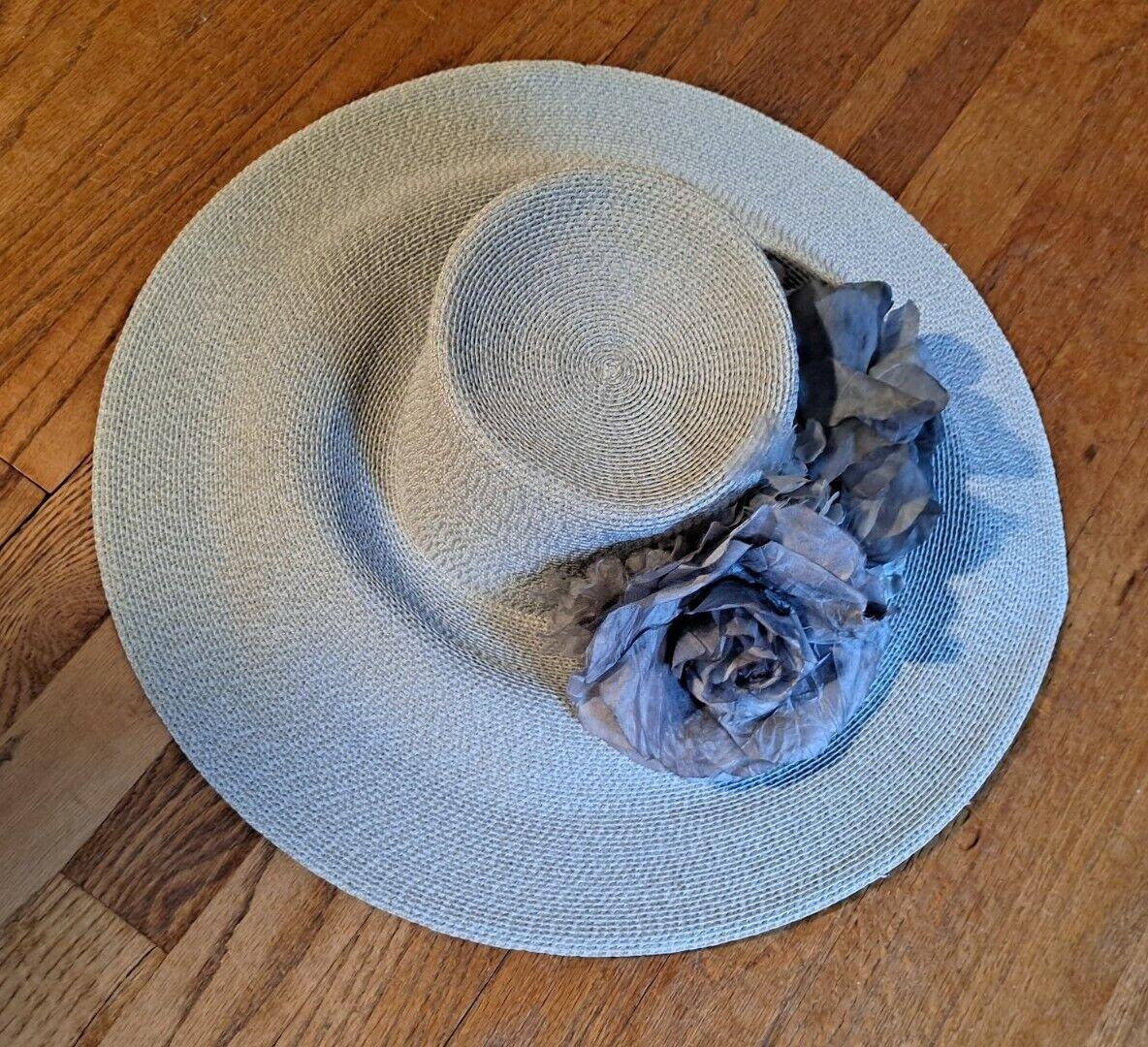 Vtg Patricia Underwood Pale Aqua Straw Hat/Gray S… - image 8