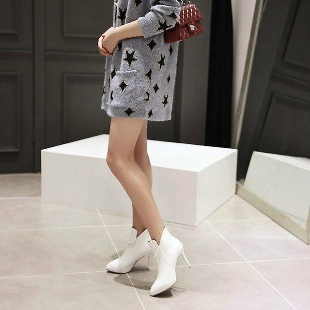 stivali stivaletti stiletto  bianco   a tacco 9 bianco  perle simil pelle 9411 73be84