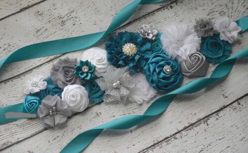 flower Belt wedding sash Maternity Sash,teal white grey sash