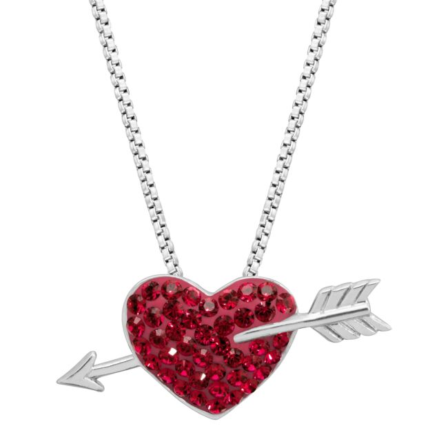 Crystaluxe Heart & Arrow Pendant with Swarovski Crystals, Rhodium-Dipped Silver