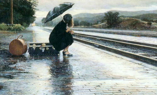 Oil painting young girl holding umbrella in rainy day In the train station 36/""