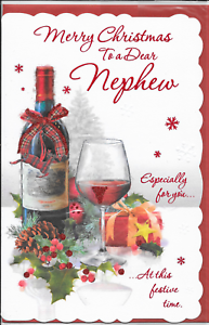 Merry Christmas Nephew.Details About Nephew Christmas Card Large 7 X 11 Inches Traditional Red Mulled Wine Cc4