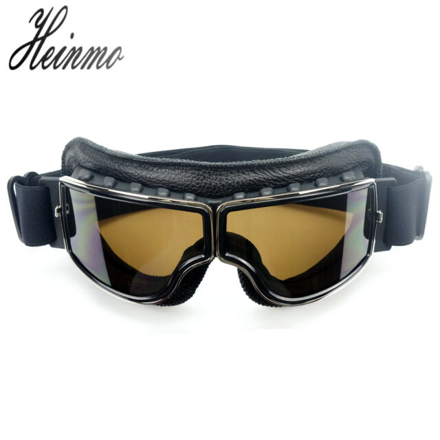 Sport Vintage Aviator Pilot Style Motorcycle Cruiser Scooter Goggle Smoke Lens