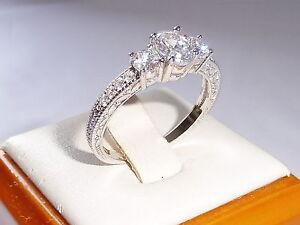 Damen-handgemachte-Sterling-Silber-925-3-Stein-weiss-Saphir-Ewigkeit-Ring