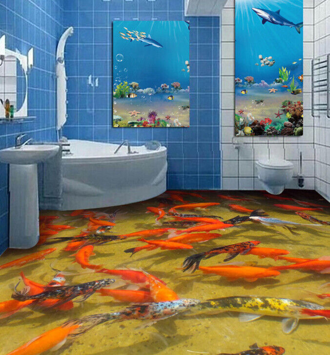 3D Red Koi Fish Pond 12 Floor Wall Paper Wall Print Decal Wall Deco AJ WALLPAPER