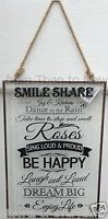 Glass Plaque Smile Be Happy Wall Door Sign Vintage Retro Chic Shabby Rustic
