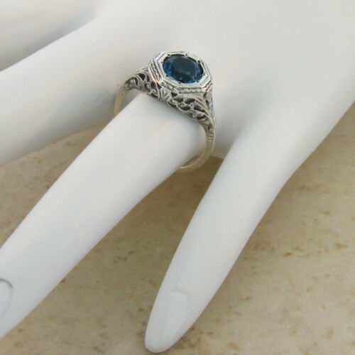 #98 GENUINE LONDON BLUE TOPAZ ANTIQUE STYLE 925 SILVER FILIGREE RING SIZE 6