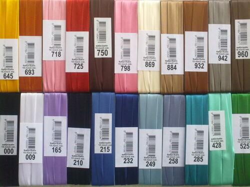 15mm Satin Bias Binding x 2 Meters 22 Colour Choice Bies de Satén 2 Metros