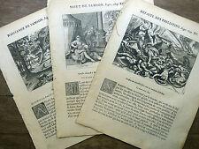 LOT 3 GRAVURES 18e s. Figure Ancien Testament : SAMSON Bible Sacy MERIAN 1770