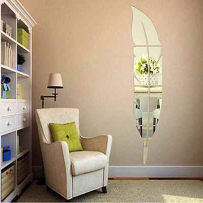 DIY 3D Wall Mirror Stickers Feather Dressing Acrylic Sticker Room Decor Hot Sale
