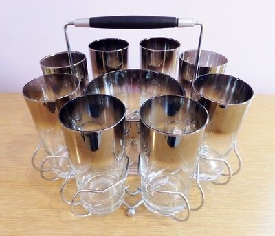 MCM Mid Century Modern Classic Silver Top Lusterware High Ball Glass Set Of 8 In Metal Bar Caddy