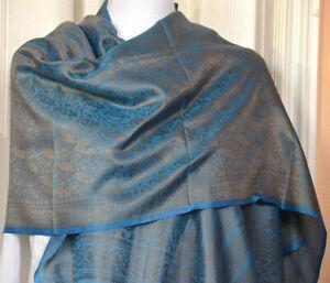 Banaras-Silk-Turquoise-Golden-Color-Woven-Paisley-Floral-Design-Stole-Wrap