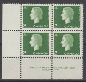 CANADA-402-2-Queen-Elizabeth-II-Cameo-Issue-LL-Plate-1-Block-MNH