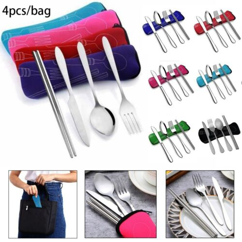 4Pcs Stainless Steel Fork Spoon Chopsticks Portable Travel Camping Cutlery Tools