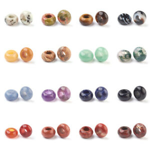 30pcs Rondelle Natural Black Agate European Large Hole Beads Loose Spacer 14x8mm