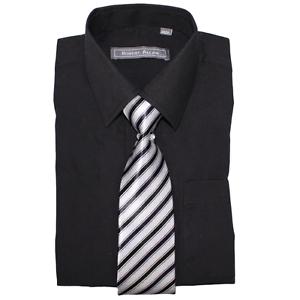 Formal Wear for Children /& Kids Robert Allen Boys Dress Shirt /& Tie Black