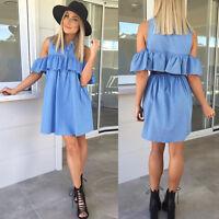 Women Bardot Midi Dress Ladies Ruffle Body Dress Frill Top Ruffles Hem Long Dres