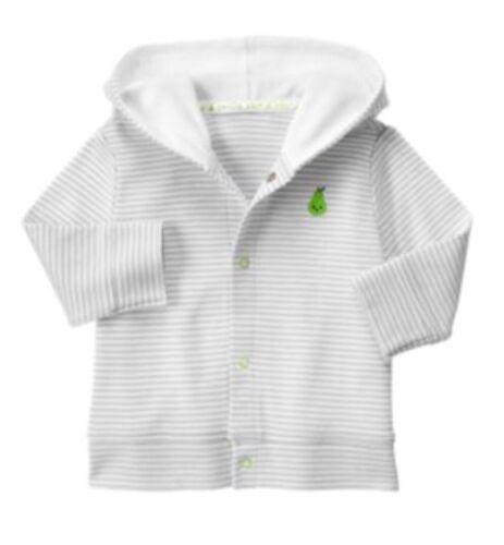Gymboree NWT Newborn Essentials Pear Stripe Coat Cardigan Hooded 3-6 M