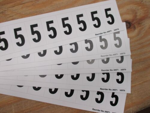 "1/"" Character Height FS1523-9WCY1 Number Label Black 2PK 10PCS 5"