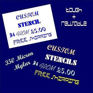 Custom-Text-Stencil-350-Micron-Mylar-Strong-Flexible-Reusable-Choose-Size-Font