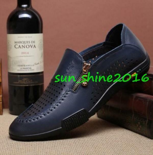 Mens Black  Leather Dress Hollow Out Lace-up Breathable Comfortable Sandals