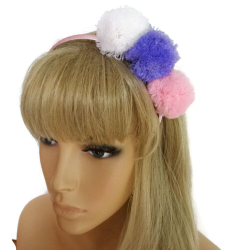 Fab Pink Lilac And White Pom Poms on a Satin Alice Band Headband