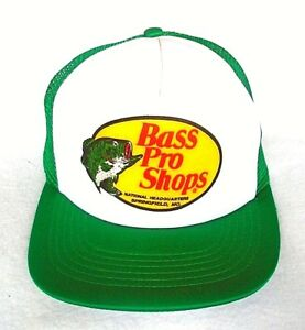 976d5d8e5aed72 Vintage Bass Pro Shops Green Mesh Patch Snapback Trucker Hat Fishing ...