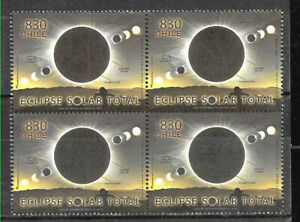 CHILE-2019-SPACE-ASTRONOMY-SUN-ECLIPSE-CHILE-ARGENTINA-BLOCK-OF-4-MNH