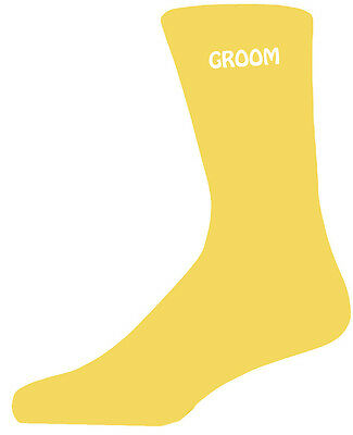 Humorvoll Simple Design Yellow Luxury Cotton Rich Wedding Socks, Groom, Best Man, Usher Elegant Im Geruch