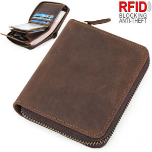 Mens Quality Black Real Leather Wallet Credit Card Holder Zip Around Coin Pouch