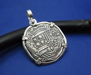 Silver-Spanish-Shield-Colonial-Pirate-Shipwreck-Coin-Pendant-Necklace-Atocha-Cob