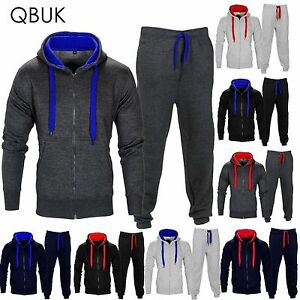 NEW-MENS-TRACKSUIT-SET-FLEECE-HOODIE-TOP-amp-BOTTOMS-JOGGERS-GYM-CONTRAST-JOGGING