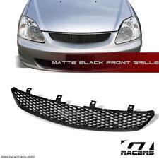 For 2002 2005 Honda Civic Si Ep3 Matte Blk Tr Mesh Front Hood Bumper Grille Abs Fits 2004 Honda Civic