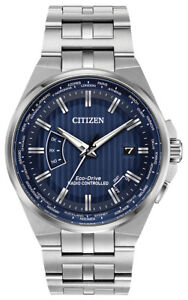 Citizen-Eco-Drive-Men-039-s-A-T-World-Time-Blue-Dial-42mm-Watch-CB0160-51L