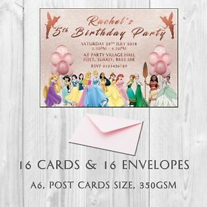 Image Is Loading 16 Personalised Princess Birthday Party Invitations Invites Kids