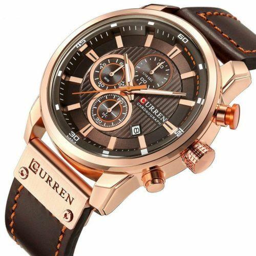 Mens Waterproof Leather Aviator Army Military Chronograph Date Quartz Wristwatch