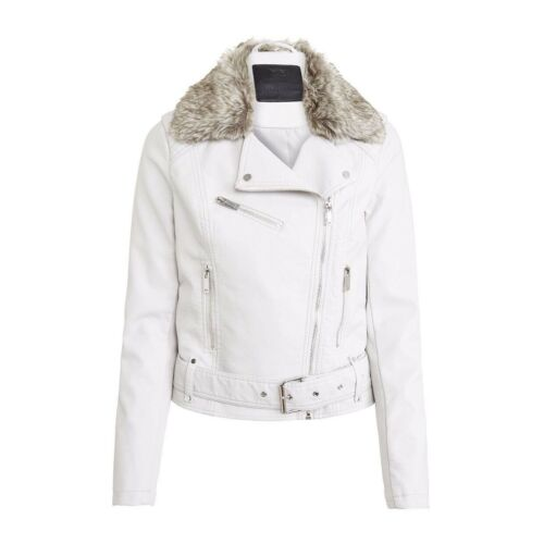 CREAM BRAND NEW F/&F FAUX LEATHER BIKER STYLE JACKET SIZE 10
