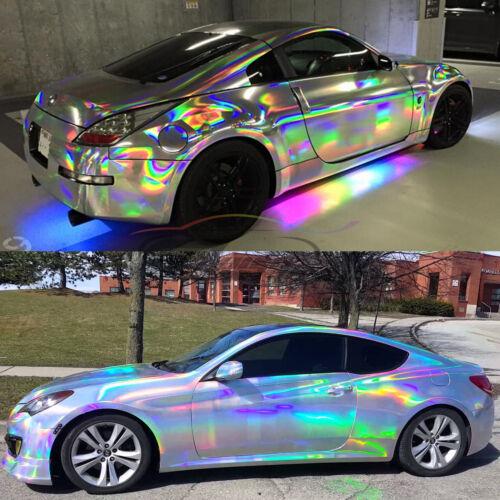 "*36/""x60/""  Holographic Purple Rainbow Neo Chrome Car Vinyl Wrap Air Bubble Free"