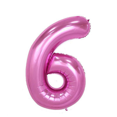 """40/"""" Giant Pink Six Year Old Baby First Birthday 6 Month Number Float Balloon USA"""