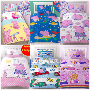NEW-PEPPA-PIG-GEORGE-Bedding-Duvet-Quilt-Cover-Bed-Set-PIRATES-DINOSAUR-TRAIN-UK