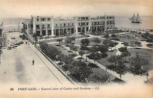 POSTCARD-EGYPT-PORT-SAID-General-View-Casino-and-Gardens-LL-95
