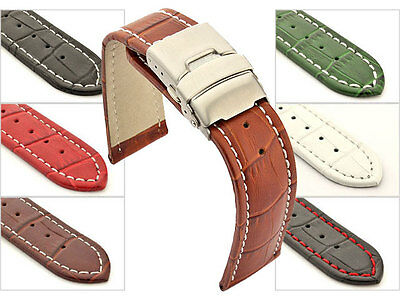 Men's Genuine Leather Watch Strap Band Croco Deployment Clasp Spring Bars