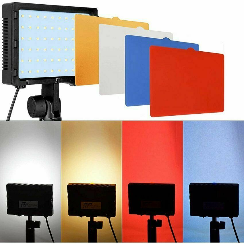2pcs Portable Photography Lighting Kit 60 LED Dimmable Video Light with 4 Filter