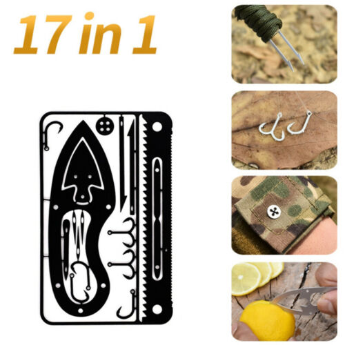 17 In 1 Fishing Gear Card Multi-Tool Camping Survival Tools Hunting Surviva DD