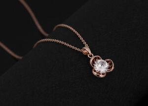 Preis bleibt stabil verrückter Preis super service 18k Gold Halskette mit Anhänger vergoldet Rose Kette ...