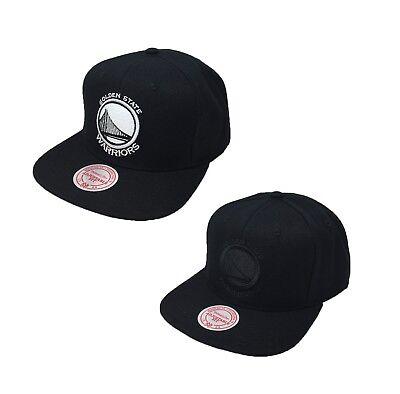 Mitchell /& Ness Golden State Warriors Black Snapback Hat State Bridge Side Logo