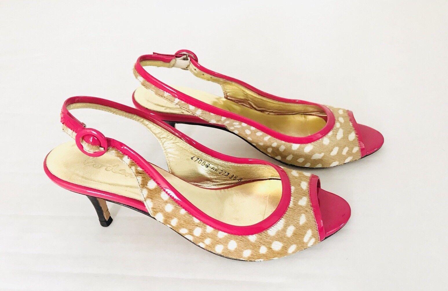 Boden Polka Dots Slingback Size 38 US 7 Pink Animal Print Peep-toe Kitten Heel