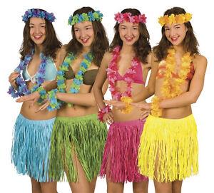 Hawaii Set 4-teilig Blumenkette Armbänder Kopfband Hula Hawaii Party